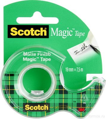 3M™ 8-1975D невидимая клейкая лента Scotch ® Magic, на мини-диспенсере склипстрипом, 19 мм х 7,5 м
